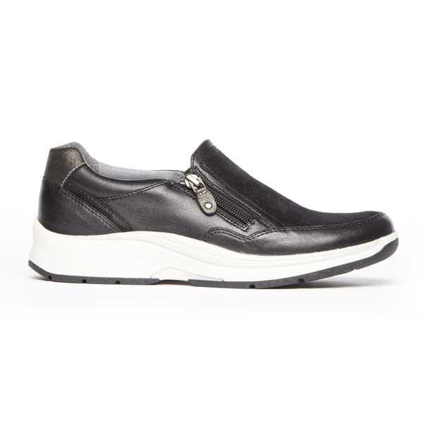 """ARAVON"" Women's Pyper Side Zip Slip On (Black)"