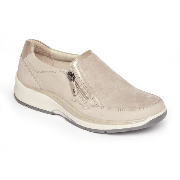 """ARAVON"" Women's Pyper Side Zip Slip On (Taupe) (1682672582746)"