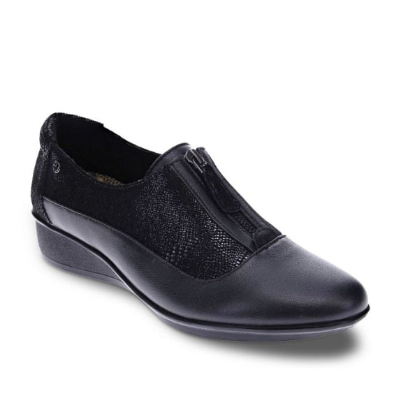 """REVERE"" Women's Tangier Slip-on (Black French/Black Lizard)"