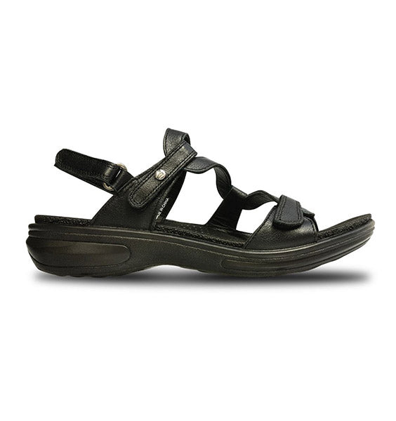"""REVERE"" Women's Miami Sandal (Black Leather)"