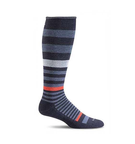 (SOCKWELL) Women's Moderate Compression, ORBITAL STRIPE 15-20 MMHG (Navy)