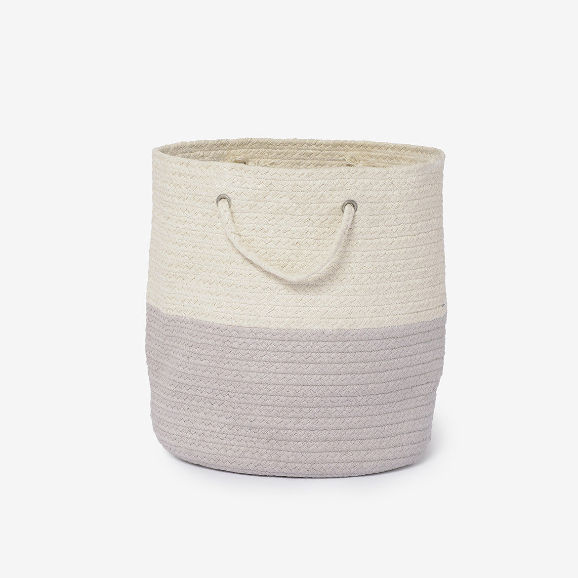Dipped Braided Woven Storage Basket Light Grey