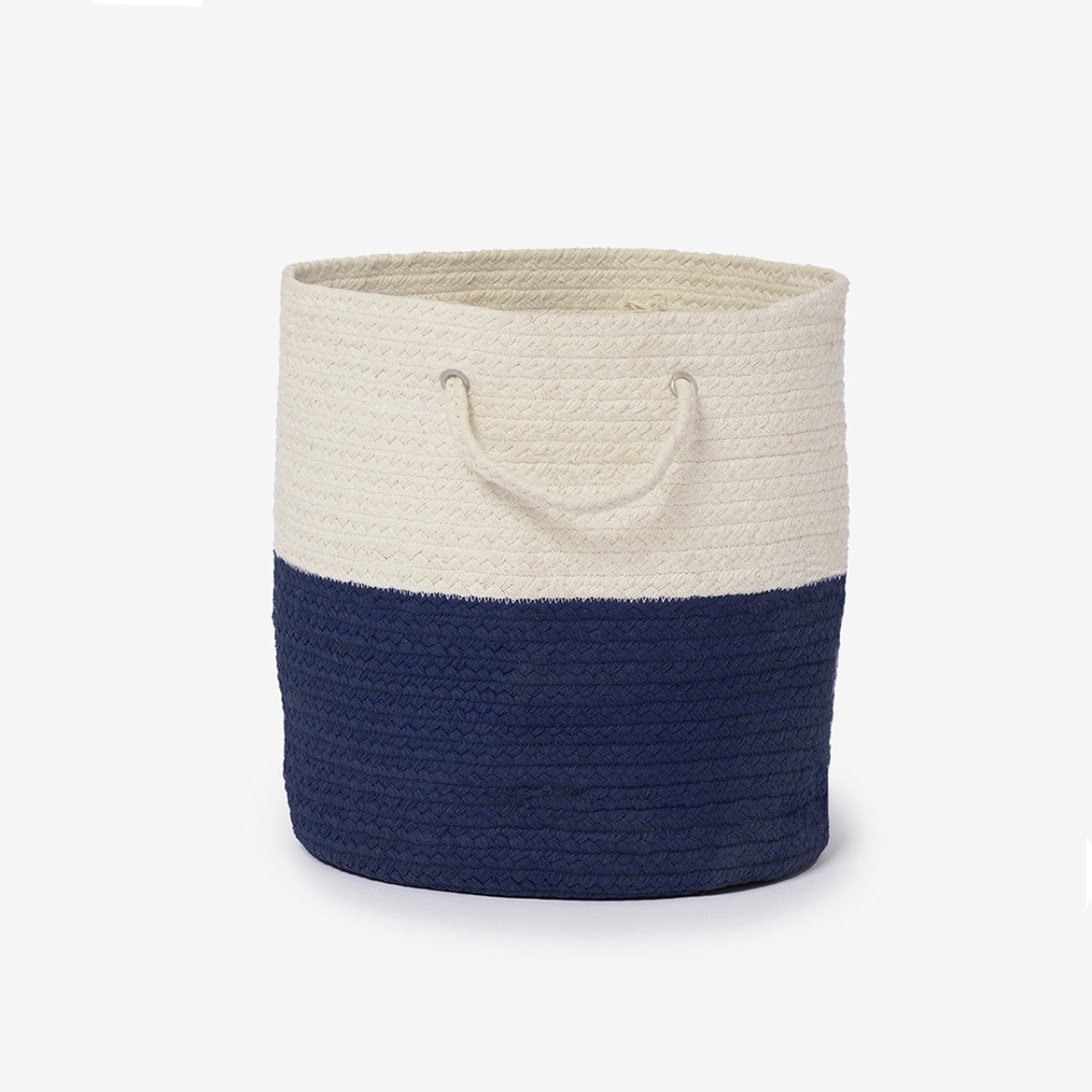 Woven Storage Basket Dipped Braided Storage Bin Navy Blue
