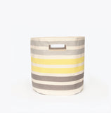 Three Stripe Canvas Storage Bin Grey