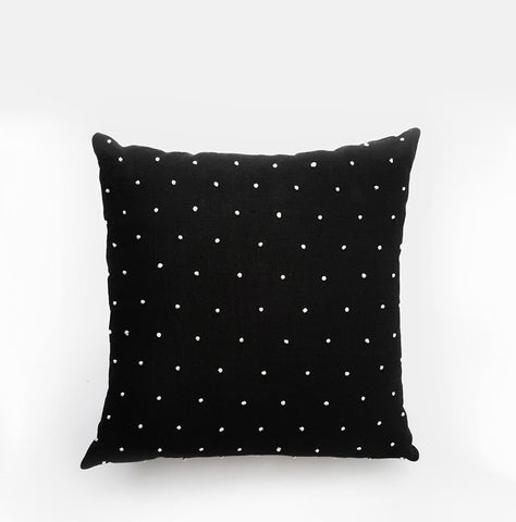 Dot Knot Throw Pillow Black