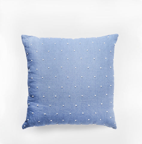 Dot Knot Throw Pillow Chambray