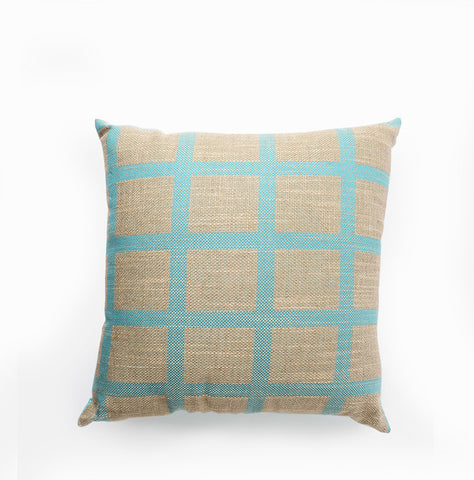 Linen Check Throw Pillow Cerulean