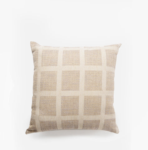 Linen Check Throw Pillow Cream