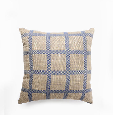 Linen Check Throw Pillow Navy