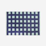 Griddy Woven Cotton Dhurrie Throw Rug Navy