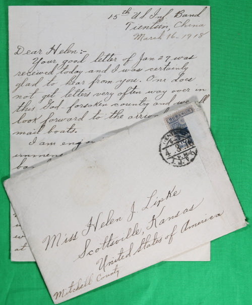 1918 letter from American soldier based in Tientsin China