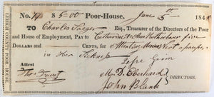 1848 Lehigh County PA Poor-House cheque