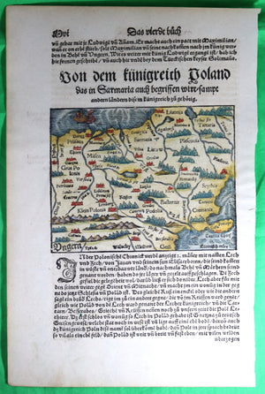 @1558 Munster hand-coloured map of Russia, Poland and Hungary