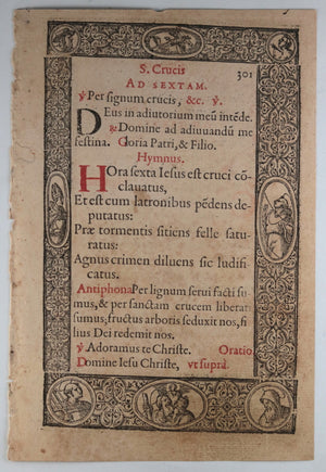 1572 Renaissance page with fantastic woodcuts Plantin #4