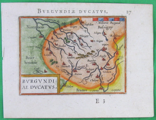 1595 Carte Ortelius de Bourgogne / Map of Burgundy