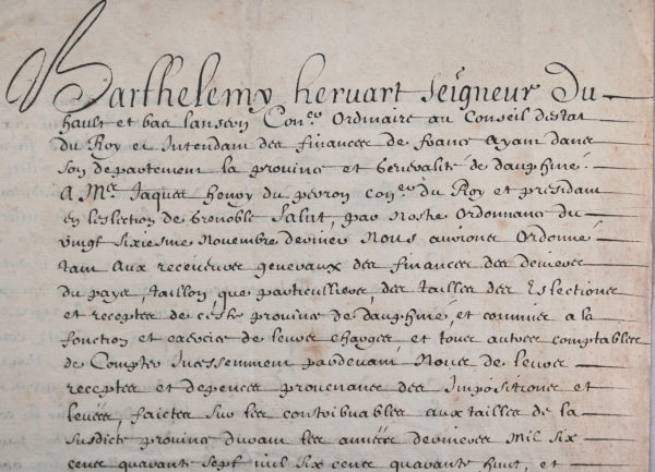 1651 Grenoble lettre, Barthélemy Hervart intendant Finances de France