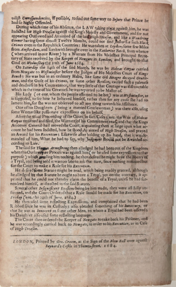 1684 trial Sir Thomas Armstrong, sentence Drawn, Hanged and Quartered