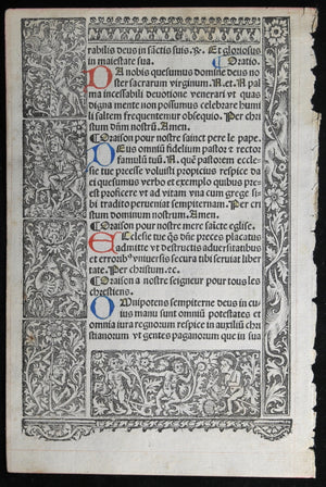 16th C. Renaissance French Book of Hours page, nice woodblocks #1 of 2