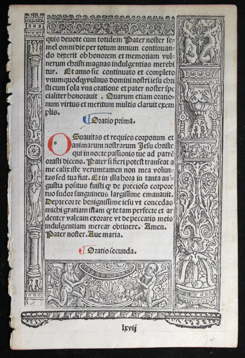 16th C. Renaissance French Book of Hours page, nice woodblocks #2 of 2