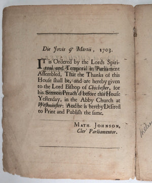 1703 pamphlet Bishop Chichester Thanksgiving sermon Westminster London