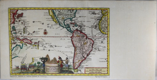 1707 Pieter van der Aa map of voyage of Magellan from Spain to Asia