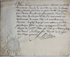 1724 Lille & Tournai, 2 documents Mme. Faulconnier de Bellain