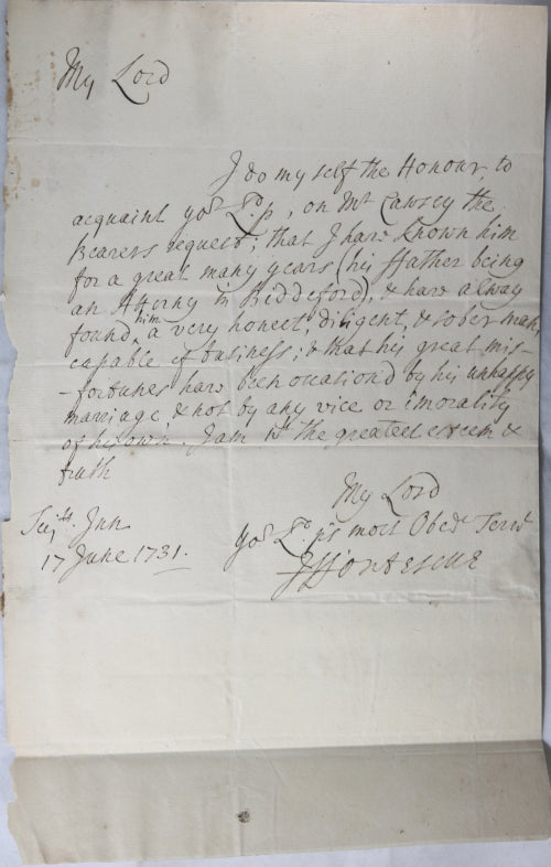 1731 UK letter from Judge Fortescue to Lord Chancellor of Great Britain