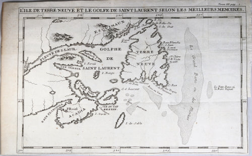 1732 French Map Of East Coast Of New France And Newfoundland Canada
