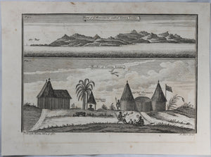 1745 engraving Africa Mountains and Houses of Sierra Leone #2