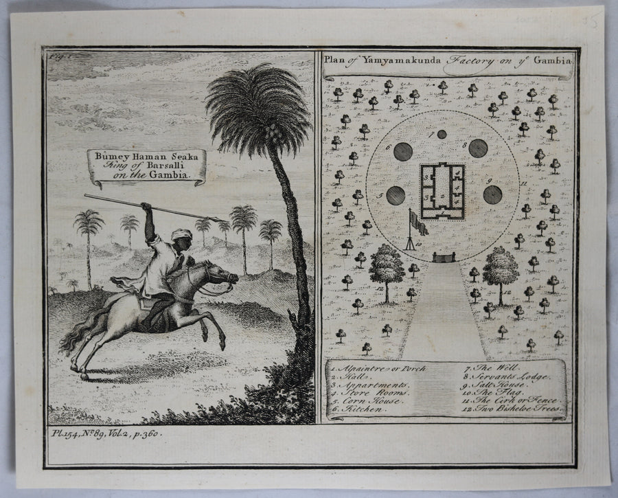 1745 engraving King Barsalli and Factory on Gambia