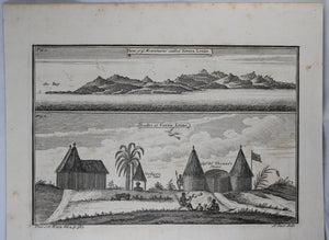 1745 engraving Mountains and Houses of Sierra Leone