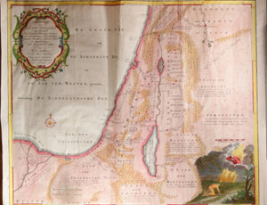 1748 Dutch map Lands of Canaan (Holy Land) by W. A. Bachiene