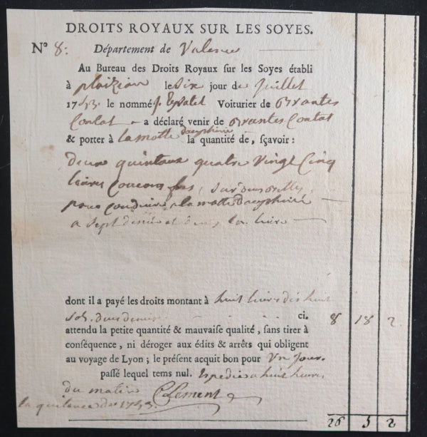 175354 lot 2 quittances, droits royaux sur transport soies (Dauphiné)