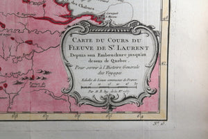 1757 Bellin map Canada's St Lawrence River, Anticosti to Quebec City
