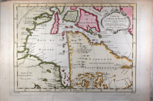 Map Of Canada James Bay.1757 Bellin Map Of Canada S Hudson Bay Chadbourne Antiques