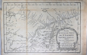 1757 map of Canada's St Lawrence River, Quebec City to Lake Ontario