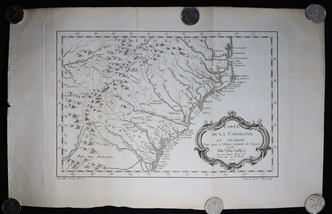 1757 Bellin map of Carolina and Georgia