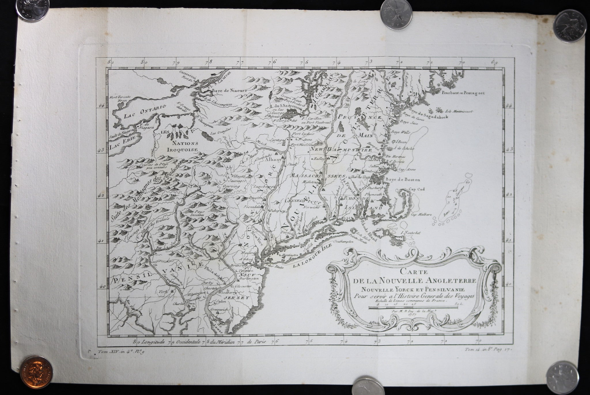 1757 Map Of Florida And Louisiana France Bellin Chadbourne