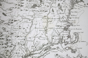 1757 Bellin map of New England, NY, PA