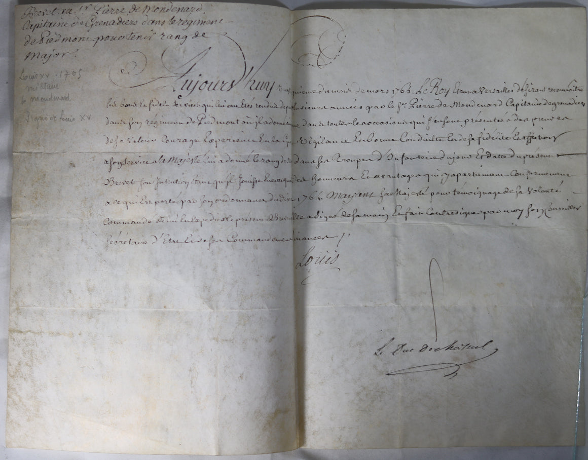 1765 brevet de Major Grenadiers de Piedmont, signé Louis et Choiseul