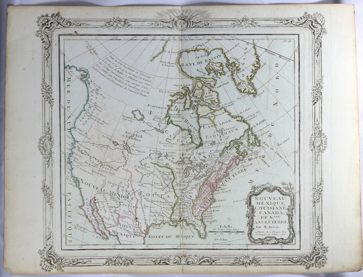 1766 Brion map of New Mexico, Lousiana, Canada and New England