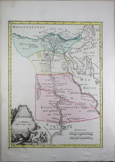 1767 Crépy map of river Nile, Egypt and North Africa