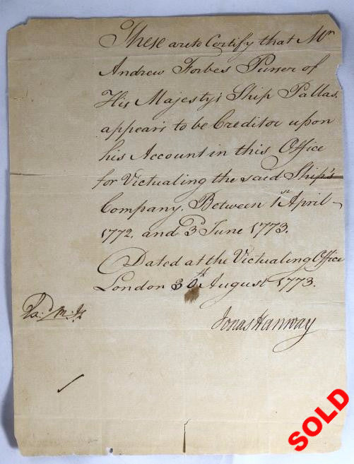 1773 London letter, payment for victualing HMS Pallas during 1772-1773