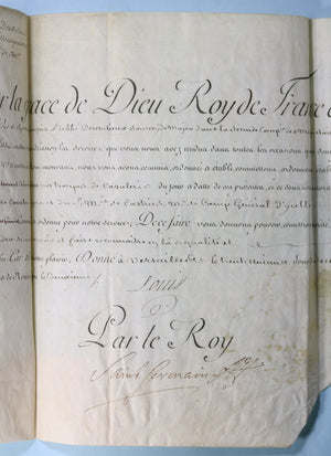 1775 commission Lieut. Colonel Cavalerie, signé Louis & Saint Germain