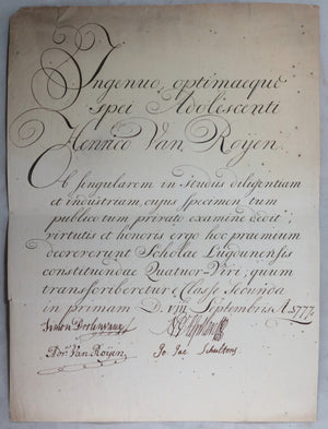 1777 Leiden Holland, letter of commendation student at Latin School