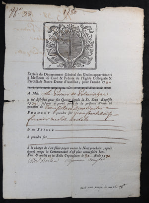 1780/84 distribution froment Prieur Polminhac (Cantal)
