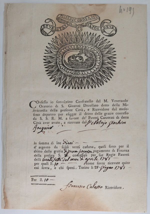 1781 Turin Italy, donation Church of Misericordia (for condemned)