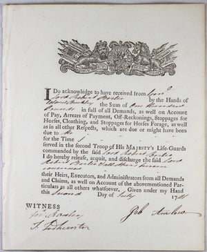 1781 payment for expenses, 2nd Troop of Life Guards cavalry (UK)