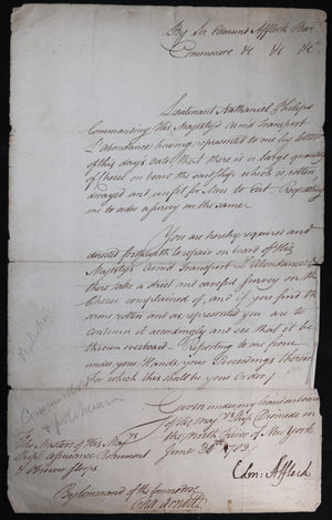 1783 NYC Cmd. Affleck provisioning ship for Loyalists to Canada (War of Ind.)