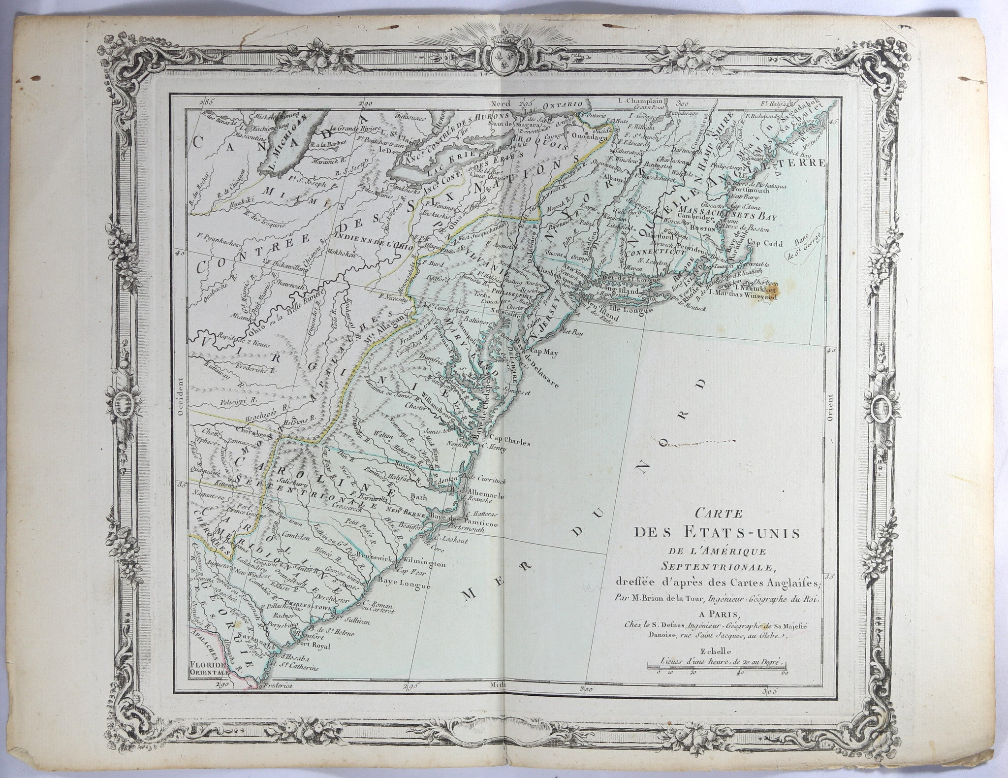 Picture of: 1785 Brion Map Of East Coast Of United States Chadbourne Antiques Collectibles